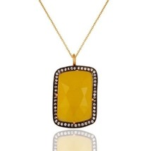 Yellow Moonstone Gemstone Jewelry 18K Gold Plated Silver Chain Pendant - $38.60