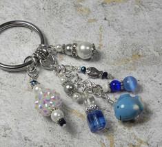 Fish Beach Theme Crystal Glass Beaded Handmade Keychain Split Key Ring Blue - $16.58