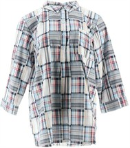 Joan Rivers Patchwork Button Up Plaid Tunic Top Navy M NEW A349225 - $52.45