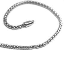 18K WHITE GOLD BRACELET BASKET ROUND TUBE LINK 1.8 MM WIDTH, 19cm MADE IN ITALY image 2