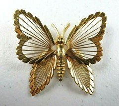 "MONET Beautiful Statement Gold Tone Wire Butterfly Brooch Pin 1 1/2"" - $16.99"