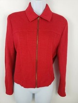 St John Marie Gray Womens Red Zip Jacket Size 6 - $51.48