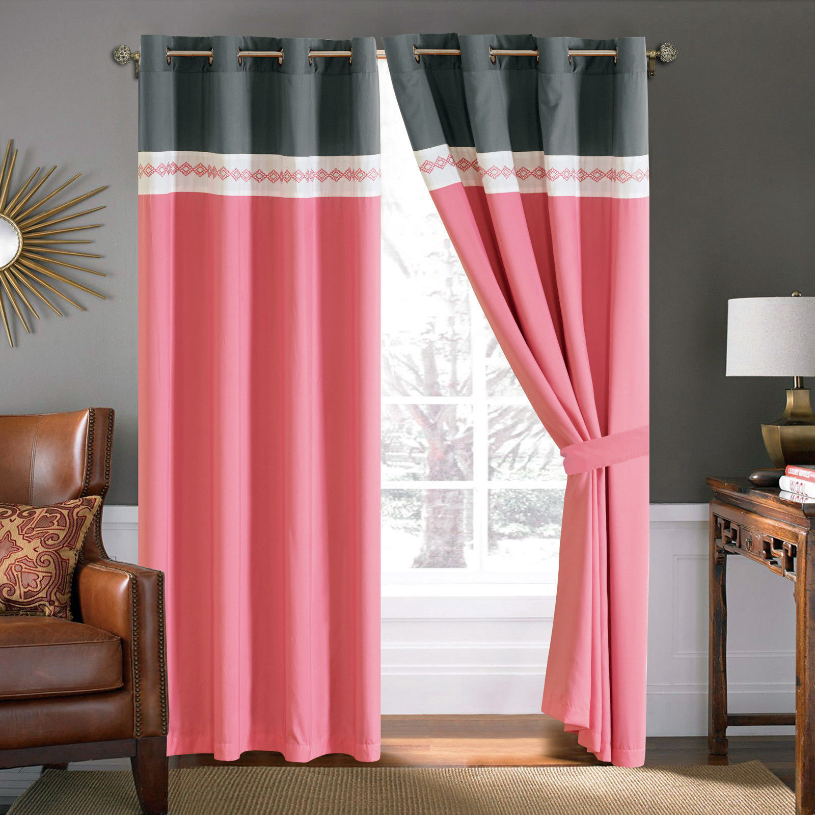 Primary image for 4-Pc Diamond Ornate Damask Embroidery Curtain Set Pink Gray Ivory Sheer Liner