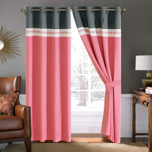 4-Pc Diamond Ornate Damask Embroidery Curtain Set Pink Gray Ivory Sheer ... - $40.89