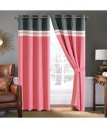 4-Pc Diamond Ornate Damask Embroidery Curtain Set Pink Gray Ivory Sheer ... - $40.89