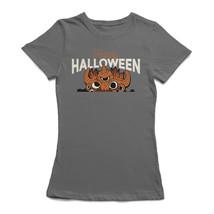 Happy Halloween Tentacles Scary Monster Cartoon Women's Charcoal T-shirt - $22.76+