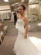 A-line Side Split Wedding Dress with All Over Lace & Veil - Ivory Colored - $605.00