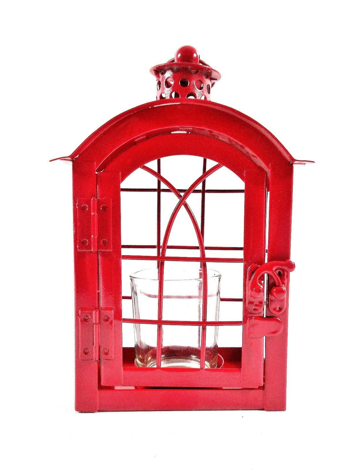 Red Metal Votive Candle Lantern w/Glass Candle Cup - Boho-Chic Candle Lantern image 4