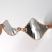 Bracelet White Gold Pink 18K 750, Rhombuses Wavy,Finely Worked, Italy image 2