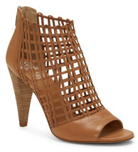 Vince Camuto Women VC-Atina Leather Peep Toe Booties Warm Brick Baby Sheep Sz 6 - $60.74