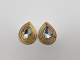 Vintage Crown Trifari Gold Tone Teardrop Shaped Rhinestone Earrings - $17.82