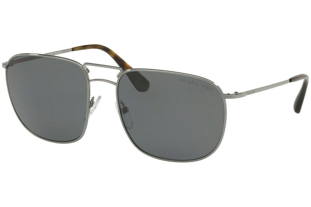 Prada Mens Sunglasses PR52TS 5AV5Z1 Gunmetal/Grey Lens Rectangular 60mm