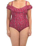 NWT GOTTEX Plus Sized 18W Off-The-Shoulder ruffle swimsuit tummy-control... - $77.59
