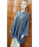 OVERSIZED SWEATER KNITTED With Pockets Freestyle Cray Pullover Made in E... - $179.00