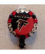 Nfl Atlanta Falcons Badge Reel Id Holder Swarovski Red Black Alligator C... - $10.99