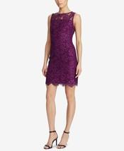 Lauren Ralph Lauren Scalloped Lace Dress 250704674001 Plum / Wheat Sz 12 - $117.80