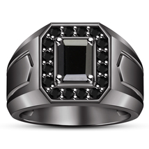 Solid Sterling Silver Black Gold Finish Emerald Cut CZ Wedding Men's Ban... - $103.88