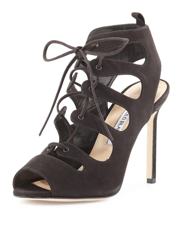 $1090 Manolo Blahnik Attal Suede Cutout Lace-Up Sandals Pumps Shoes 40- 9.5