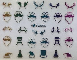 BANG STORE Nail Art 3D Decal Stickers Multicolored Christmas Hats Reindeer Ears - $3.68