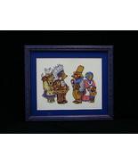 Teddy Bear Pilgrims Thanksgiving Sampler Completed Counted Cross Stitch... - $37.37
