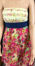Womens MAEVE Sz 6 Anthropologie Pink Yellow Floral Strapless Cotton Dress - $39.55