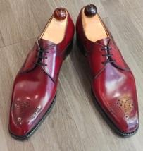 Handmade Men's Burgundy Heart Medallion Dress/Formal Oxford Leather Shoes image 1