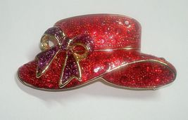 Chunky Enamel Red Hat Society Brooch Pin  2 3/8th Inches Wide - $9.50
