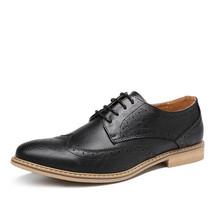 Handmade Men's Black Leather Tan Sole Wing Tip Brogues Dress/Formal Oxford L image 3