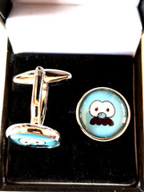 blue Funny Face Cufflinks cuff link design . gift boxed cufflinks ideal gift