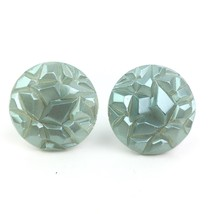 Vtg Plastic Molded Button Clip On Earrings Round Faceted Geometric Green... - $8.99