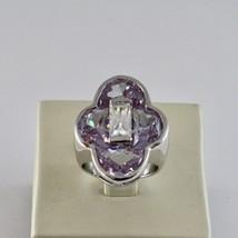 Anillo de Plata 925 Rodiado con con Cristales Violeta y Cristal Transparente image 2