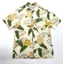 Caribbean Joe Men Small Hawaiian Yellow Floral Aloha Print Rayon Button ... - $4.99