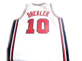 Clyde Drexler #10 Team USA Basketball Jersey White Any Size image 2