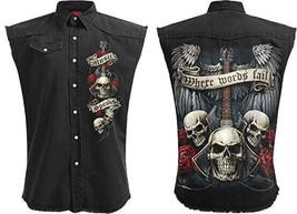 Men's Spiral Unspoken Stone Washed Sleeveless Black Denim Jean Button Up Vest image 1