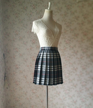 Girl BLACK and WHITE Plaid Skirt School Pleated Plaid Skirts Plus Size wt32 image 3