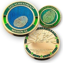 "GEO-ACHIEVEMENT MISSION GC GEOCACHING 14K GP 1.75""  CHALLENGE COIN - $23.74"