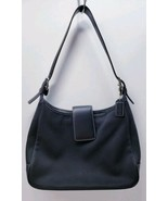 COACH Hamptons #7701 Black Canvas Black Leather Trim Purse Handbag  - $34.65