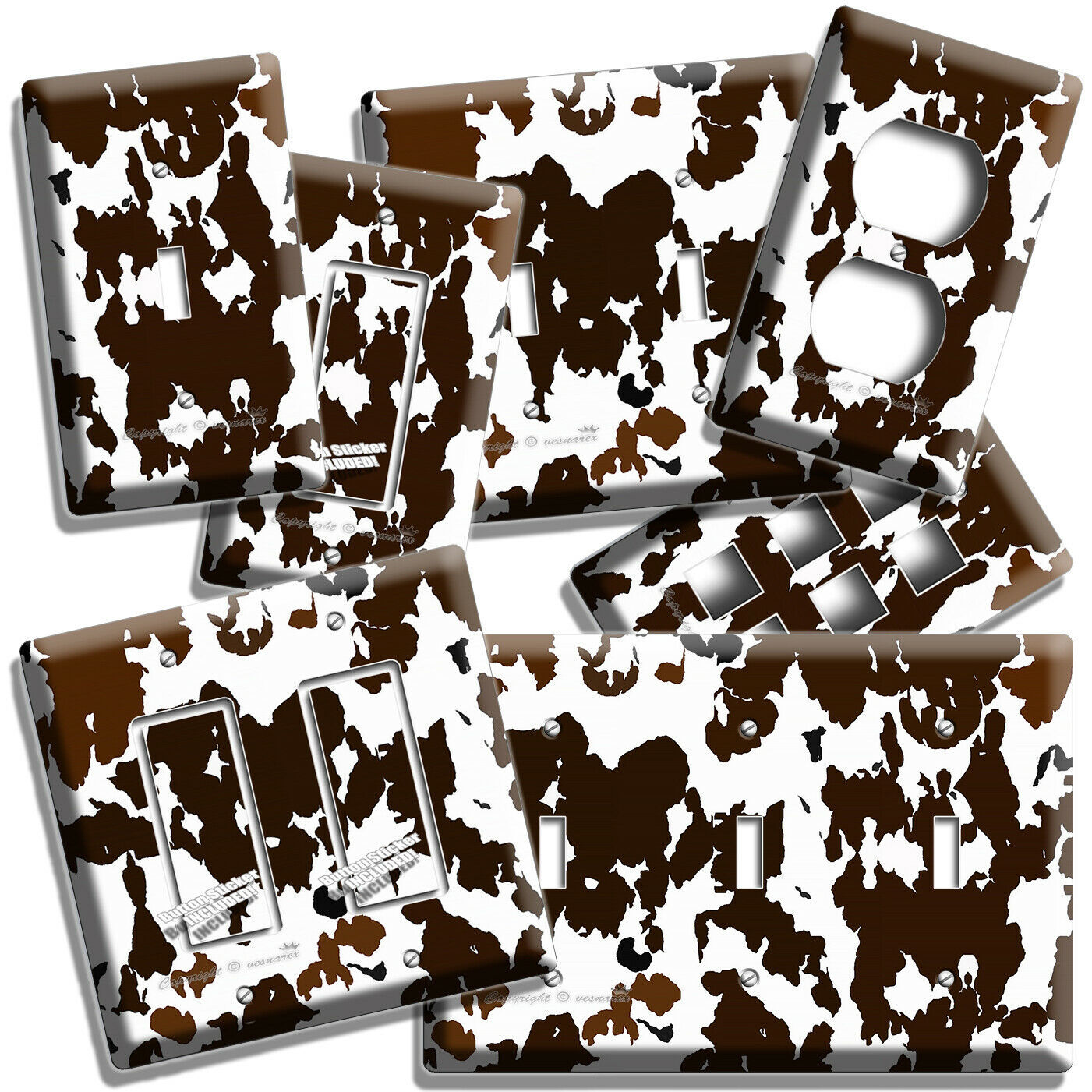 COW HIDE SKIN PRINT LIGHT SWITCH OUTLET WALL PLATE COUNTRY STYLE ROOM HOME DECOR