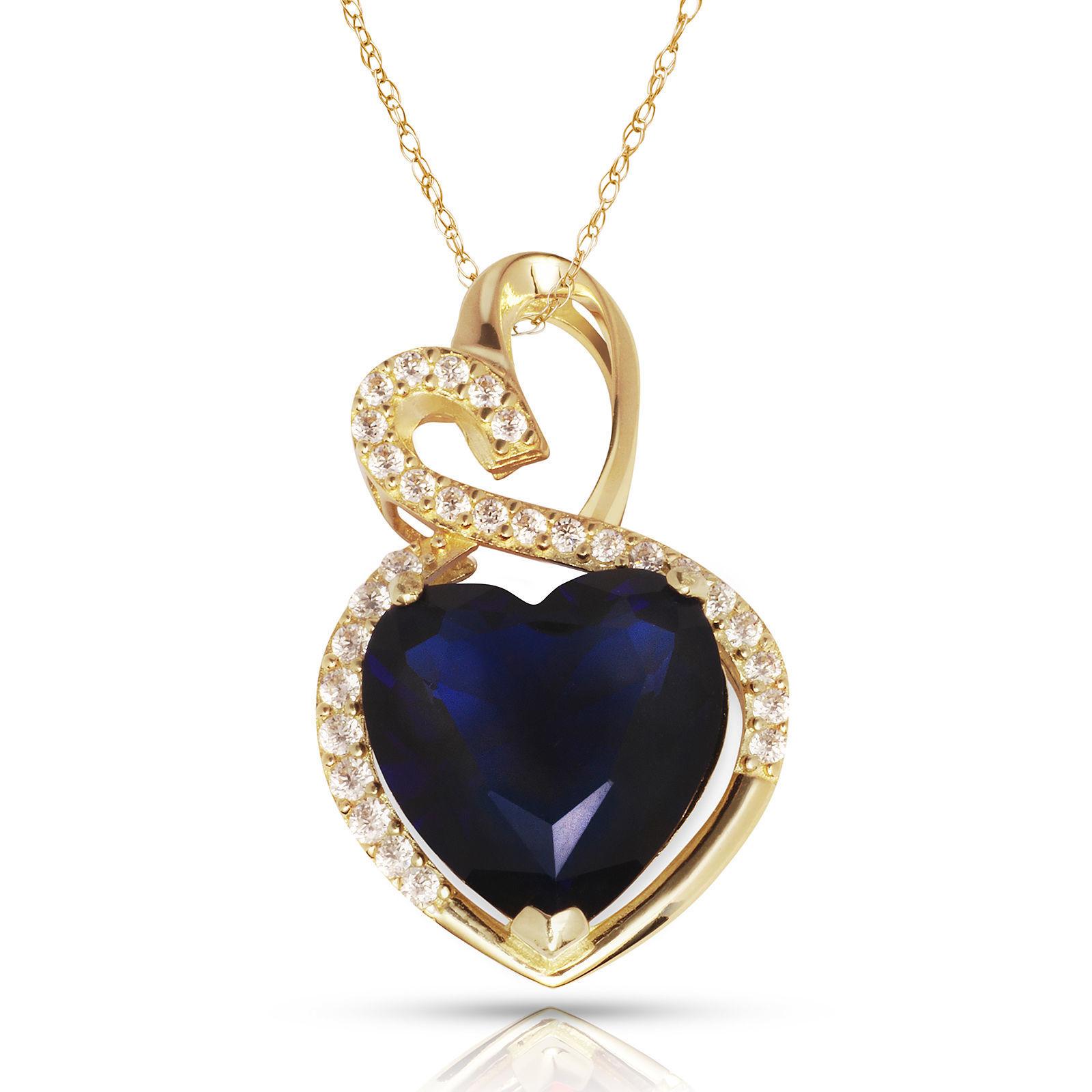 4.20 Carat Halo Sapphire Double Heart Gemstone Pendant & Necklace14K Yellow Gold