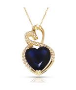 4.20 Carat Halo Sapphire Double Heart Gemstone Pendant & Necklace14K Yel... - $150.73