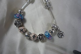 Silver Plated Blue and Pink Glass BEAD Charms Bracelets with Charms 7.34... - £3.98 GBP