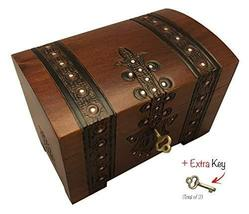 MilmaArtGift Treasure Chest Box w/Lock and Key Polish Linden Wood Handmade Pirat - $35.63