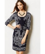 NWT ANTHROPOLOGIE NAVY BLUE PAISLEY PEPLUM SWEATER DRESS by KNITTED &amp... - $99.74
