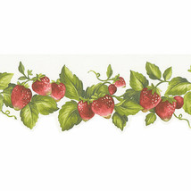 Die Cut Strawberry Wallpaper Border Green, Red Norwall Wallcovering FK72... - $18.99