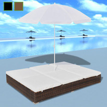 Patio 2-Person Rattan & Wicker Bed Sunbed Garden Furniture w/Parasol Bro... - $365.99