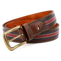 Tommy Hilfiger Men's 35MM Center Stripe Stitch Leather Belt Brown 11TL02X057