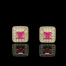 1 Ct Princess Cut Red Ruby Halo Women Wedding Stud Earrings 14k Yellow G... - $61.37