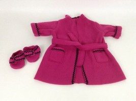 Authentic American Girl 1996 Pink Fleece Robe w Slippers Retired Vintage... - $19.55
