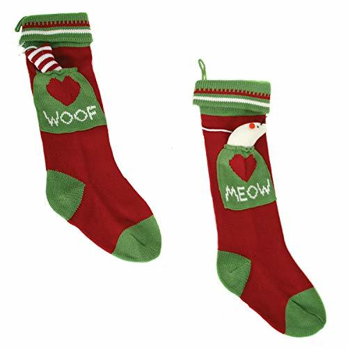 Woof Meow Dog Cat Family Pets Knit Christmas Holiday Stockings Set of 2 - $71.28