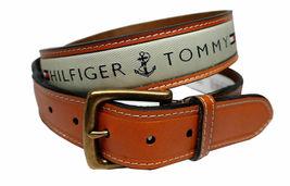 Tommy Hilfiger Men's Premium Ribbon Inlay Anchor Logo Leather Belt 11TL02X032 image 4